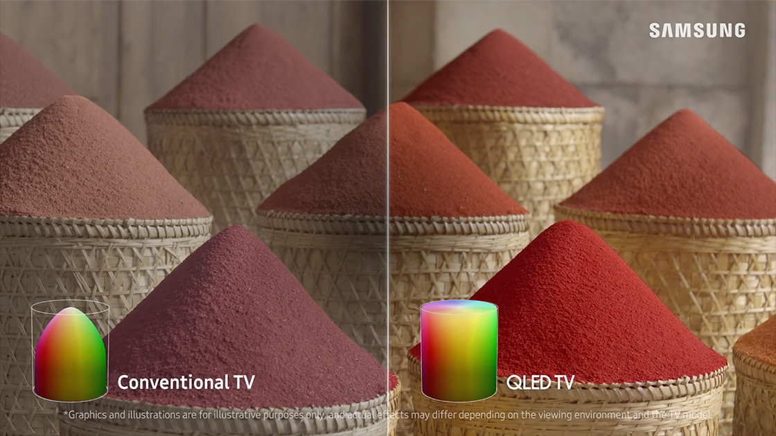 This is an image that red sand has silted up in a basket. It compares a difference between the color volume of QLED TV and Conventional TV. QLED TV screen areas are much more definite than Conventional TV and display more various types of red color ranging from warm tone to cool tone.