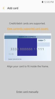Samsung GearS3 Samsung Pay Detect Card Info