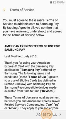 Samsung GearS3 Samsung Pay Terms of Service
