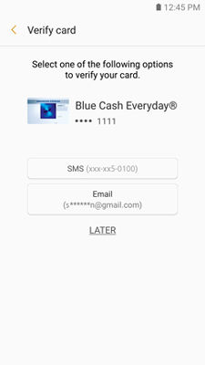 Samsung GearS3 Samsung Pay Verify Card