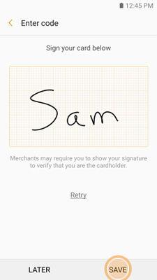 Samsung GearS3 Samsung Pay Signature