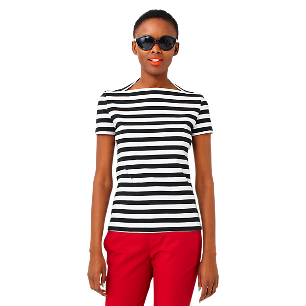 Sale alerts for Kate Spade Saturday Striped Slip Neck Tee in Cotton Jersey - Covvet