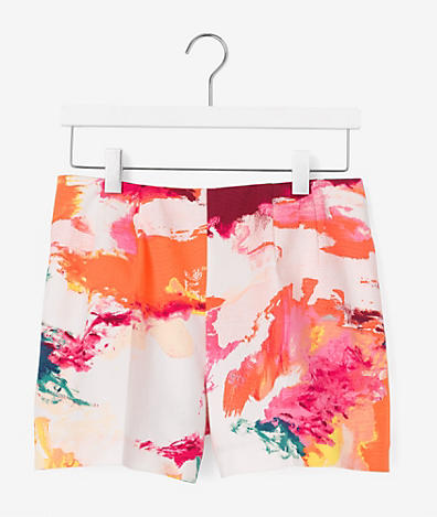 High-Waisted Shorts in Abstract