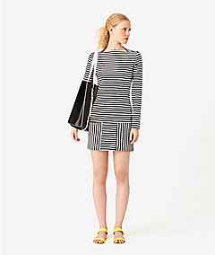 Slip Neck Ponte Dress in Stripe