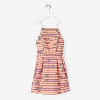 Crisscross Corded Dress in Spray-Painted Stripe