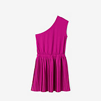 Pleated One-Shoulder Scoopback Dress