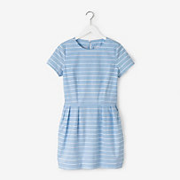 Pockets & Pleats Dress in Lined Stripe