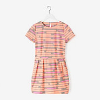Pockets & Pleats Dress in Spray-Painted Stripe