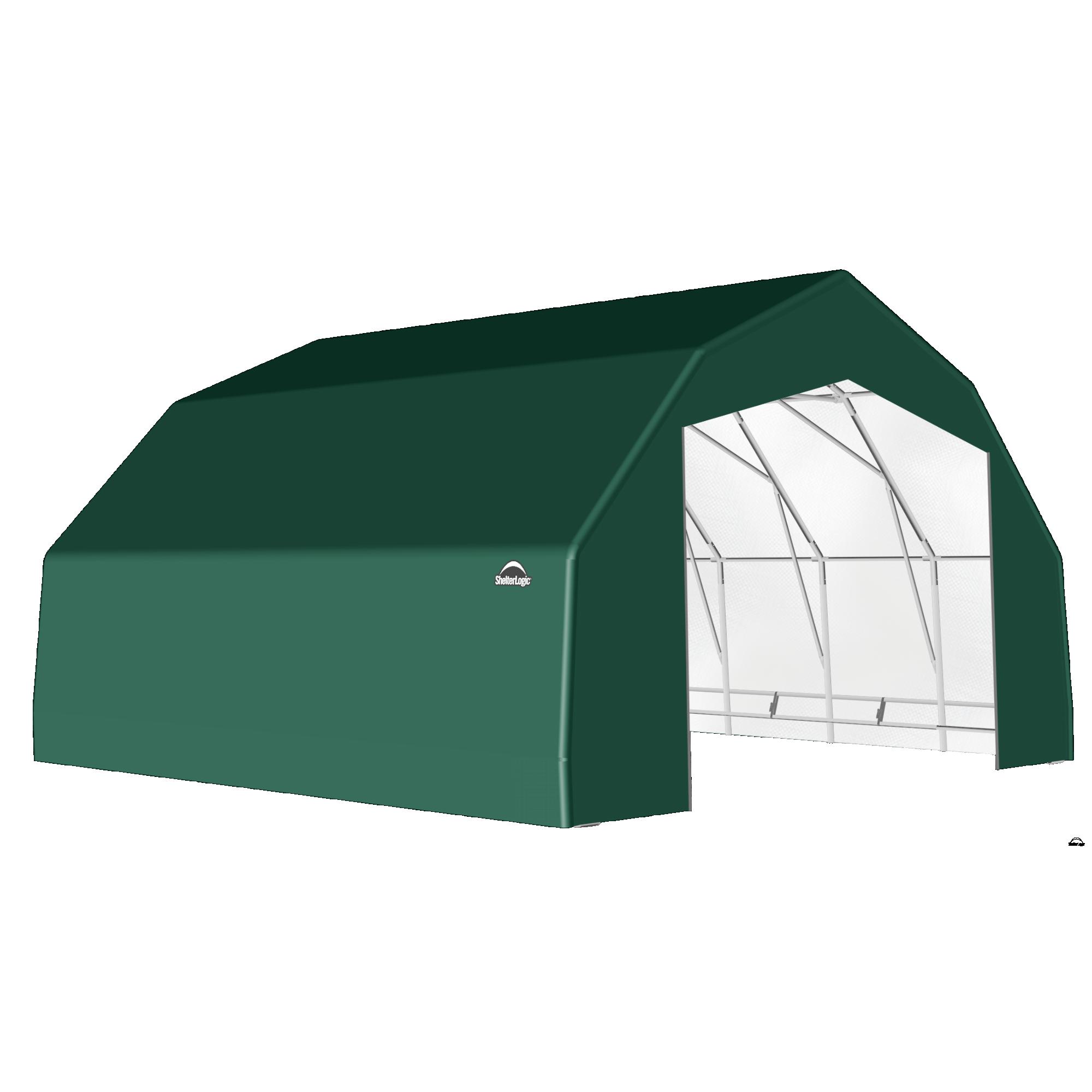 SP Barn 25X28X14 Green 14 oz PE Shelter