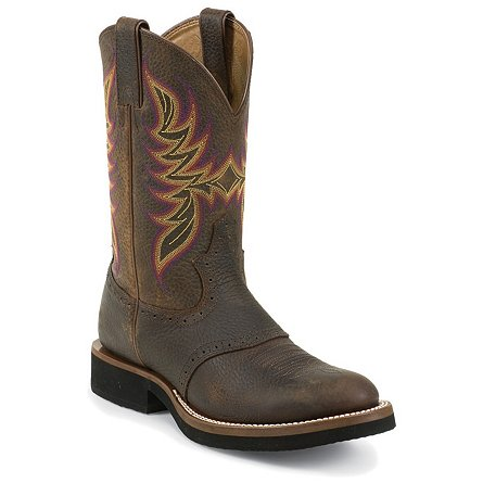 Justin Boots Stampede™ Dark Brown Rawhide W/Saddle