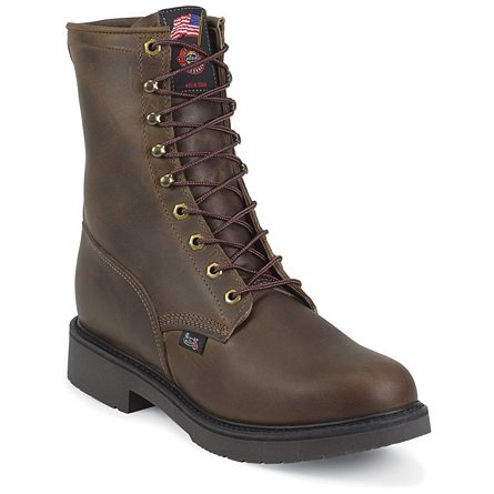 Justin Original Work Bay Apache Steel Toe 8""