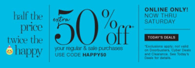 50% off your online purchases