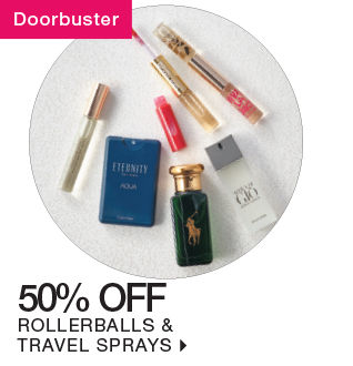 shop 50% off rollerballs & travel sprays