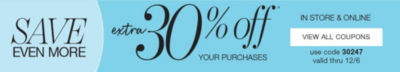 extra 30% off your purchases