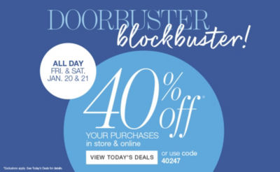 doorbuster blockbuster - extra 40% off your purchases