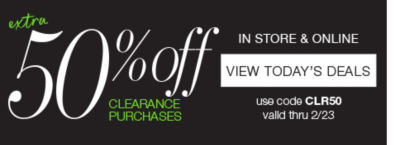 extra 50% off clearance purchases with code CLR50