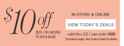 extra $10 off your $25 purchases with code 1025
