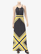 London Times Dots & Stripes Halter Maxi Dress – Misses