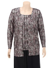 Connected Black & Silver Abstract Layered-look Top – Plus-sizes