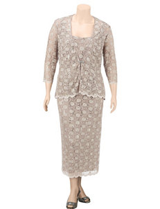 R & M Richards Plus-size Taupe Lace Jacket & Dress Set
