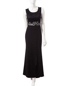 Emerald Sundae Black Lace Slit Dress – Juniors