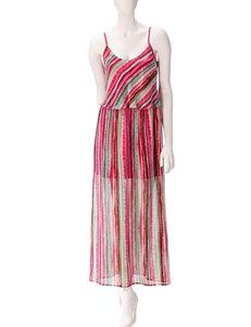 Speechless Pink & Green Striped Maxi Dress