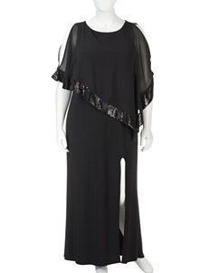 R & M Richards Plus-size Black Sequin Poncho Dress
