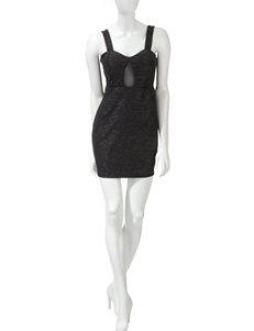 Trixxi Black Glitter Knit Bodycon Dress