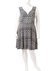 Bailey Blue Silver / Black Cocktail & Party Fit & Flare Dresses