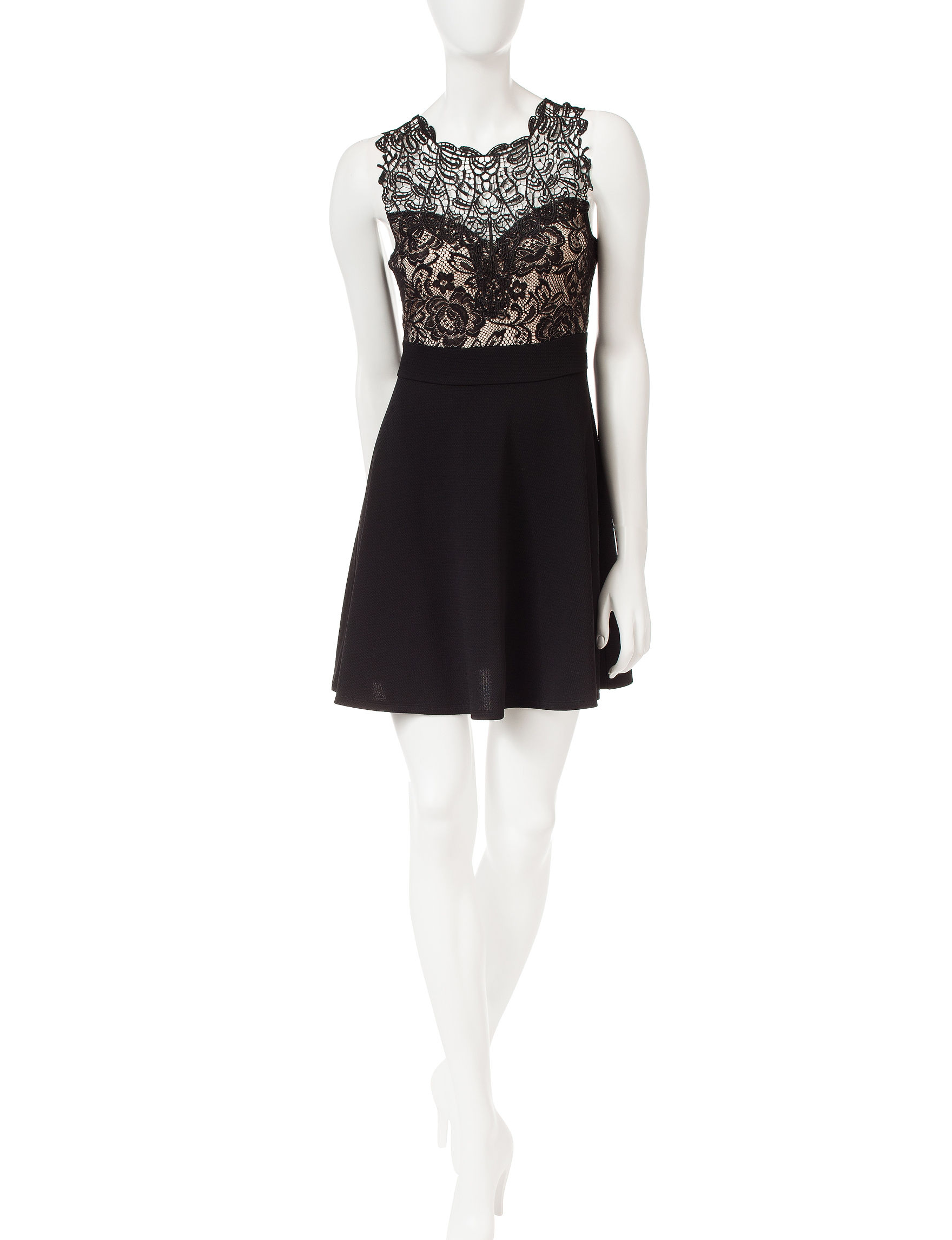 Trixxi Black / Taupe Cocktail & Party Fit & Flare Dresses