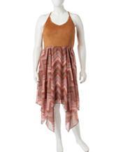 Almost Famous Junior-Plus Size Suede Halter Handkerchief Dress