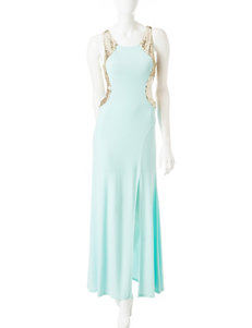 My Michelle Mint & Gold Sequin Evening Gown