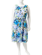 Madison Leigh Plus-size Floral Print A-line Dress