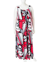 Glamour Plus-size Abstract Print Pleated Maxi Dress