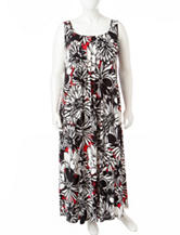 Glamour Plus-size Floral Print Pleated Maxi Dress
