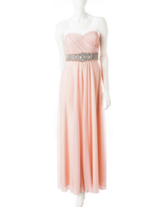 My Michelle Pink Chiffon Strapless Gown