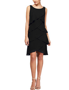 S.L. Fashions Black Chiffon Multi-Tier Dress