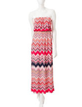 Trixxi Multicolor Pixelated Chevron Print Maxi Dress