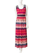 Trixxi Multicolor Chevron Print Lattice Maxi Dress