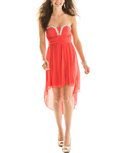 City Triangles Coral Wrapped Hi-Lo Dress