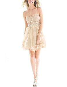 City Triangles Gold & Silver Glitter Beaded Dress