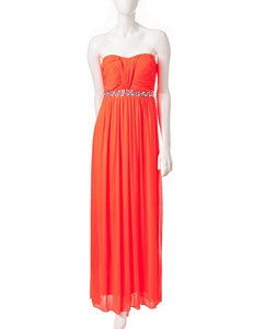 City Triangles Neon Coral Beaded Waist Dress