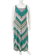 Glamour Plus-size Chevron Tribal Print Maxi Dress