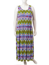 Glamour Plus-size Tribal Inspired Chevron Seamed Dress