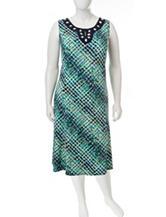 Perceptions Geometric Print Midi Dress