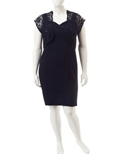 Maya Brooke Juniors-plus 2-pc. Navy Lace Jacket & Dress Set
