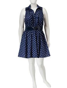 Bailey Blue Plus-size Navy Dot Print Fit & Flare Dress