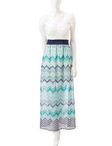 Trixxi Strapless Chevron Print Maxi Dress