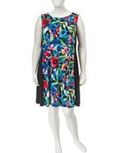 Connected Plus-size Multicolor Floral Print Dress