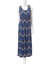Trixxi Blue Chevron Lattice Back Maxi Dress